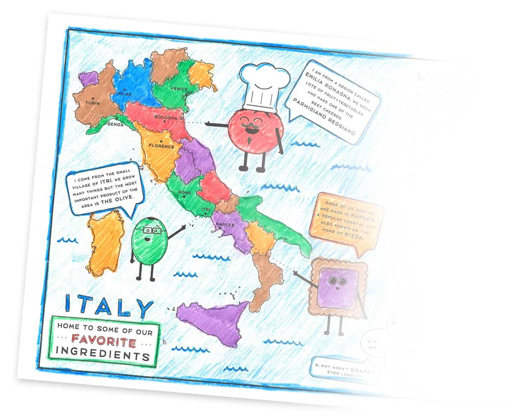 Map of Italy, Kids Menu
